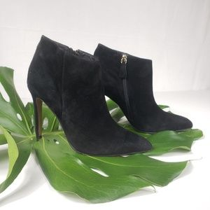 Matiko Black Suede Heeled Booties Size 38/8